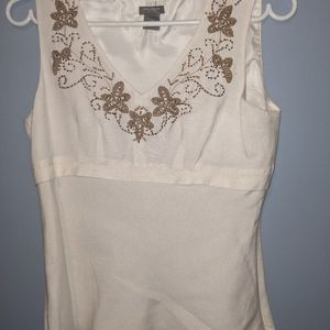 Ann Taylor Seeveless Blouse with beading